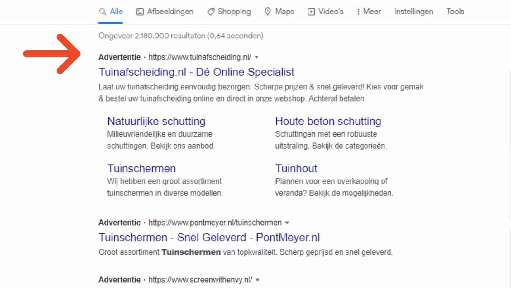 Zoekwoord advertenties in Google